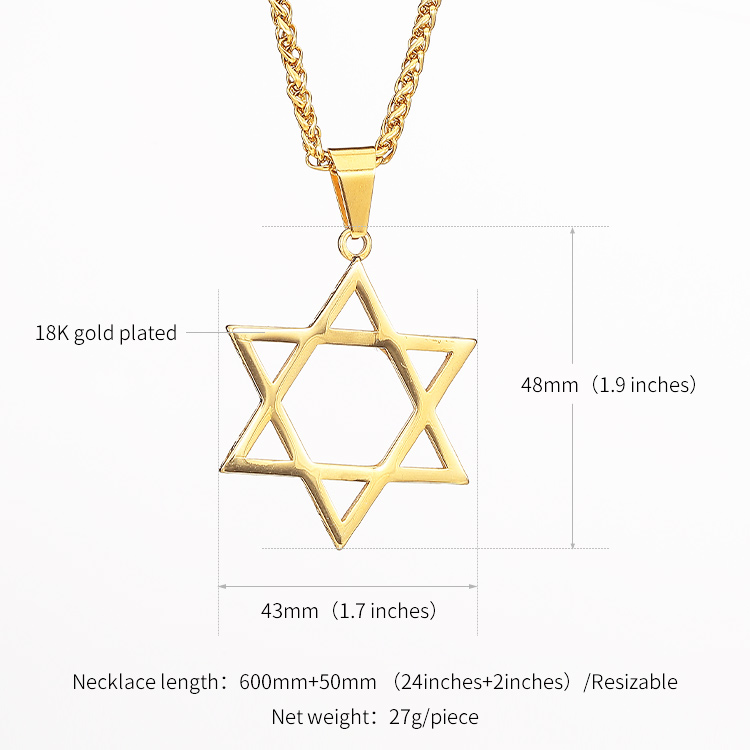 Star Of David Pendant Necklace 316L Stainless steel Jewelry Gold Plated Jewish Star Magen David Necklace S167/S168