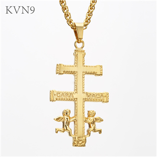 Cara Vaca Cross with Angels Pendant Necklace Gold Plated Vintage Christian Jewelry Stainless Steel Caravaca Cross Necklace S237/S238