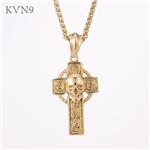 Cross Shape Skull Head Pendant New Design Gold Plated Jewelry Stainless Steel Cross Necklace S423/S424