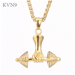 Hand Holding Dumbbell Pendant Trendy Gold Plated Jewelry Stainless Steel Bodybuilding Gym Necklace S429/S430