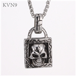 Vintage Skull Lock Pendant New Design Jewelry Stainless Steel Skeleton Necklace S434
