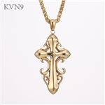 Latin Cross Fleuree Necklace Men Stainless steel Jewelry Gold Plated Budded Cross Pendant Chain Necklace S439/S440