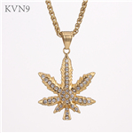 Maple Leaf Pendant Necklace Men Trendy Gold Plated Jewelry Rhinestone Inlaid Stainless Steel Tree Leaf Necklace S449