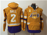 Los Angeles Lakers #2 Lonzo Ball Men's Gold Hoodies