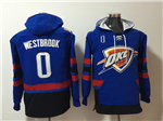 Oklahoma City Thunder #0 Russell Westbrook Men's Blue Hoodies
