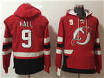 New Jersey Devils #9 Taylor Hall Men's Red Hoodies