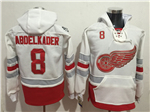 Detroit Red Wings #8 Justin Abdelkader Men's White 100th Anniversary Hoodies