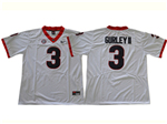 Georgia Bulldogs #3 Todd Gurley White College Football Jersey