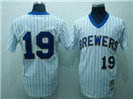 Milwaukee Brewers #19 Robin Yount 1982 Throwback White Pinstripe Jersey