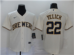 Milwaukee Brewers #22 Christian Yelich Cream 2020 Cool Base Jersey