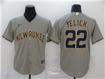 Milwaukee Brewers #22 Christian Yelich Gray 2020 Cool Base Jersey