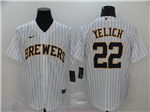Milwaukee Brewers #22 Christian Yelich White 2020 Cool Base Jersey