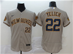 Milwaukee Brewers #22 Christian Yelich Gray 2020 Flex Base Jersey