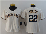 Milwaukee Brewers #22 Christian Yelich Women's Cream 2020 Cool Base Jersey