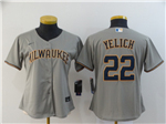 Milwaukee Brewers #22 Christian Yelich Women's Gray 2020 Cool Base Jersey