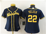 Milwaukee Brewers #22 Christian Yelich Women's Navy 2020 Cool Base Jersey