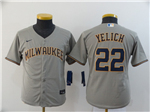 Milwaukee Brewers #22 Christian Yelich Youth Gray 2020 Cool Base Jersey