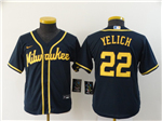 Milwaukee Brewers #22 Christian Yelich Youth Navy 2020 Cool Base Jersey