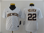 Milwaukee Brewers #22 Christian Yelich Youth White 2020 Cool Base Jersey