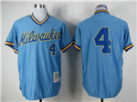 Milwaukee Brewers #4 Paul Molitor 1982 Throwback Blue Jersey