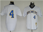 Milwaukee Brewers #4 Paul Molitor 1982 Throwback White Pinstripe Jersey