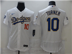 Los Angeles Dodgers #10 Justin Turner White 2021 Gold Program Flex Base Jersey