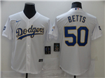 Los Angeles Dodgers #50 Mookie Betts White 2021 Gold Program Cool Base Jersey