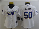 Los Angeles Dodgers #50 Mookie Betts Women's White 2021 Gold Program Cool Base Jersey