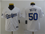Los Angeles Dodgers #50 Mookie Betts Youth White 2021 Gold Program Cool Base Jersey