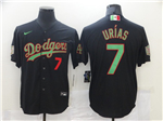 Los Angeles Dodgers #7 Julio Urias Black Mexico Flag Themed World Series Jersey