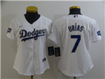 Los Angeles Dodgers #7 Julio Urias Women's White 2021 Gold Program Cool Base Jersey