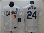 Los Angeles Dodgers #8/24 Kobe Bryant White 2021 Gold Program Flex Base Jersey