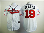 Cleveland Indians #19 Bob Feller Throwback White Jersey