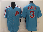 Philadelphia Phillies #3 Bryce Harper Light Blue 2020 Cooperstown Collection Cool Base Jersey