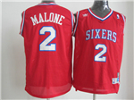 Philadelphia 76ers #2 Moses Malone Red Hardwood Classics Jersey