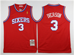 Philadelphia 76ers #3 Allen Iverson 1996-97 Throwback Red Jersey