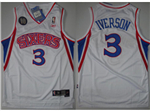 Philadelphia 76ers #3 Allen Iverson 10th Anniversary Throwback White Jersey
