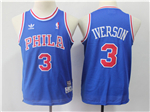 Philadelphia 76ers #3 Allen Iverson Youth Blue Hardwood Classics Jersey