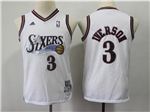 Philadelphia 76ers #3 Allen Iverson Youth White Hardwood Classics Jersey