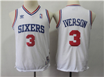 Philadelphia 76ers #3 Allen Iverson Youth White Hardwood Classics Throwback Jersey