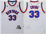 New York Knicks #33 Patrick Ewing Throwback White Jersey