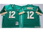 Miami Dolphins #12 Bob Griese Throwback Aqua Jersey