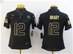 Tampa Bay Buccaneers #12 Tom Brady 2020 Women's Black Salute To Service Limited Jersey