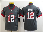 Tampa Bay Buccaneers #12 Tom Brady Youth Gray Super Bowl LV Limited Jersey
