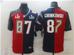Tampa Bay Buccaneers New England Patriots #87 Rob Gronkowski Split Red/Navy Super Bowl LV/LIII Jersey