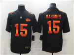 Kansas City Chiefs #15 Patrick Mahomes Black Colorful Fashion Limited Jersey