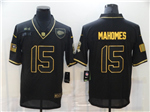 Kansas City Chiefs #15 Patrick Mahomes 2020 Black Gold Salute To Service Limited Jersey