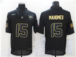 Kansas City Chiefs #15 Patrick Mahomes 2020 Black Salute To Service Limited Jersey