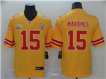 Kansas City Chiefs #15 Patrick Mahomes Gold Inverted Super Bowl LIV Limited Jersey