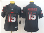 Kansas City Chiefs #15 Patrick Mahomes Women's Black Arch Smoke Limited Jersey